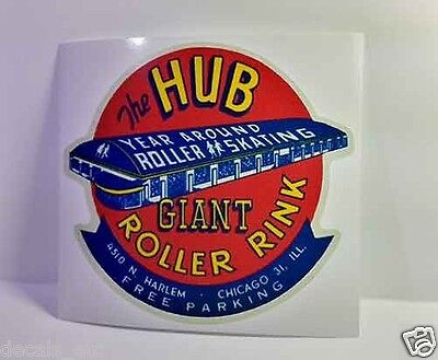 The Hub Roller Rink Chicago Vintage Style Travel Decal / Vinyl Sticker, Label