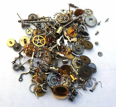 Vintage antique Steampunk Watch Parts Pieces TINY gears cogs wheels Lot 5g 150+