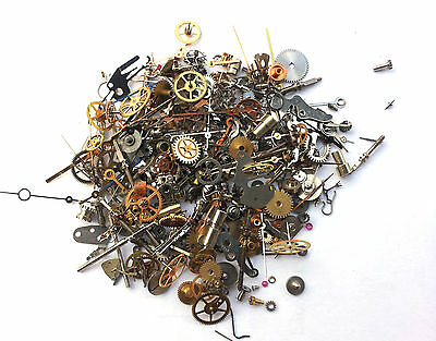 Vintage antique Steampunk Watch Parts Pieces TINY gears cogs wheels Lot 10g 300+