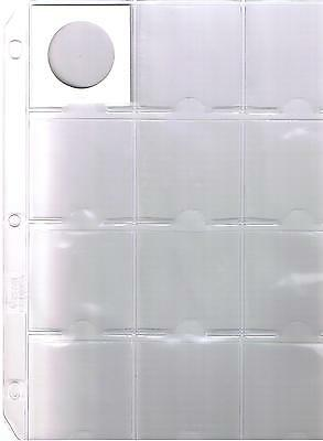 """12 Pocket Clear Coin Sheet Album Page Fits 2 1/2"""" X 2 1/2"""" Coin Holders- 3 Rings"""