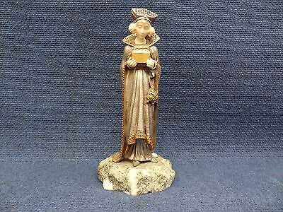 BRONZE STATUE MEDIEVAL STYLE, WOMAN HOLDING BOX marble base.