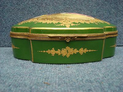 Sevres Porcelain Box With Watteau Scene On Top, Green Color 1850-1890