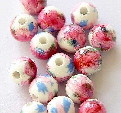 15Pcs Hand Painted Ceramics Porcelain Flower Beads Finding--10mm