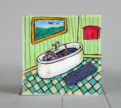 schnauzer  taking a bath bathroom picture ceramic dog art tile pet gift image #2