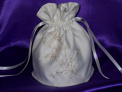 Ivory satin dolly bag with beaded motif for bride/bridesmaid