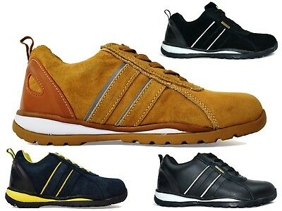 Mens Steel Toe Safety Shoes Leather Suede Work Lace Up Safety Trainer Work Shoes