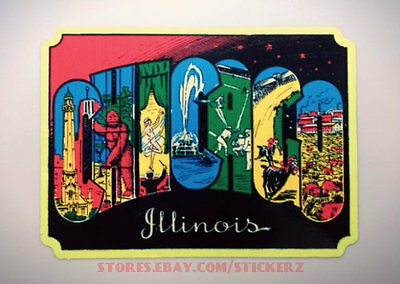 Chicago Vintage Style Travel Decal / Vinyl Sticker, Luggage Label, 5 X 3.75 Inch