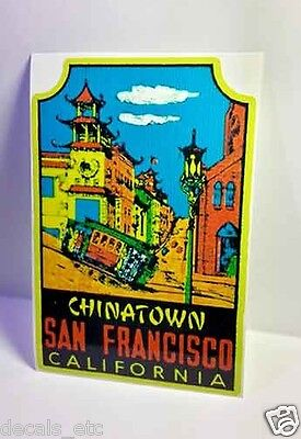 San Francisco Chinatown Vintage Style Travel Decal / Vinyl Sticker,Luggage Label