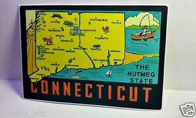 Connecticut Vintage Style Travel Decal / Vinyl Sticker, Luggage Label