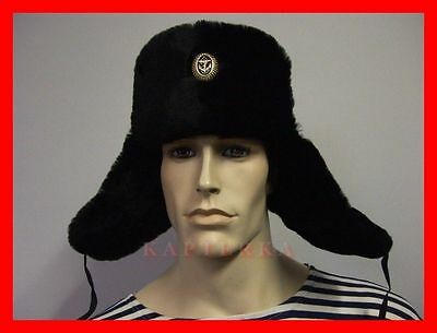 RUSSISCHE MATROSEN-USCHANKA FELLMÜTZE WINTER-MÜTZE russian sailor shapka ushanka