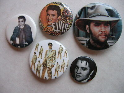 Elvis Presley  6  Diff 1980's  Pins  A Number Of  Rock  Pins Listed At This Site