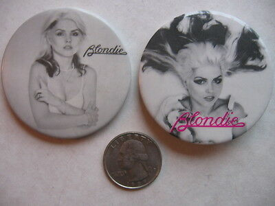 BLONDIE 2  DIFF  PROMO 1980'S  PINS  A NUMBER OF  ROCK  PINS LISTED AT THIS SITE