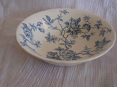Vintage Alfred Meakin Staffordshire England Blue White Roses Soup Cereal Bowl