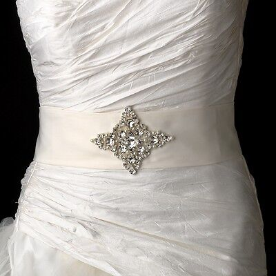 White or Ivory Pearl & Rhinestone Wedding Sash Bridal Belt 5