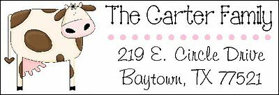 fed9ed421de CUTE PINK   BROWN COW - Return Address Labels -  2.25