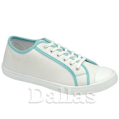 Ladies Canvas Shoes Womens Girls Plimsoles Summer Casual Pumps Trainers Size 3-8