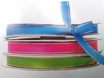 "1/4"" 3/8"" Satin Ribbon Gold, Silver Edge 50 Yard  roll 100% Polyester Many Color"