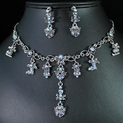 Holiday Icy Blue Austrian Rhinestone Crystal Necklace Earrings Set S1314