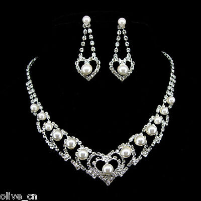Twinkling White Heart Pearl Wedding Crystal Set