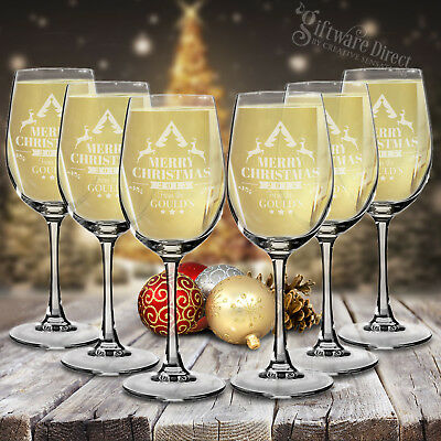Set of 12 Engraved Wine Glass Christmas Gift