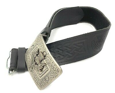 Thistle Hide Embossed Leather Kilt Belt and Buckle SMALL-XL