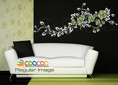 "Wall Decor Decal Sticker Mural Removable large rose flower 60"" 2 colors DC0364 2"