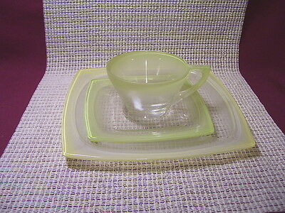 Vintage Hazel Atlas Crystal Vanity Yellow Frost Trio, Cup, Saucer, Snack Plate