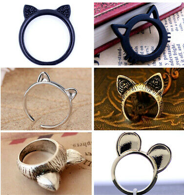Vintage style antique bronze / silver cat ring