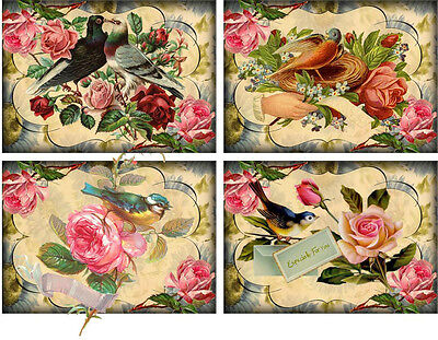 Vintage inspired pink roses small note cards tags set 8 with envelopes
