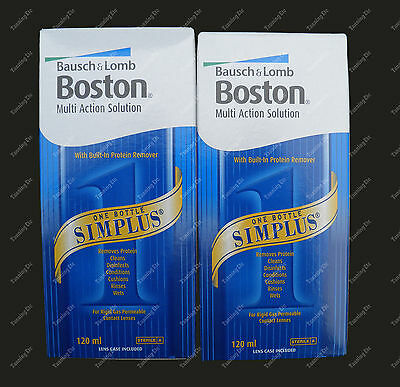 2 Pack Bausch & Lomb BOSTON SIMPLUS 120ml contact lens solution