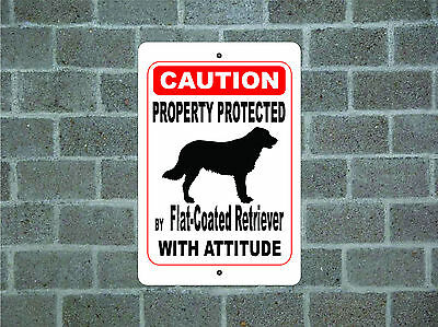 Property protected by Flat-Coated Retriever dog attitude metal aluminum sign