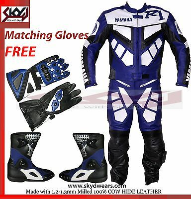 Yamaha Black/Blue Racing Leather Motorcycle suit, Shoes,Glove/ Any Logo R1,R,R6