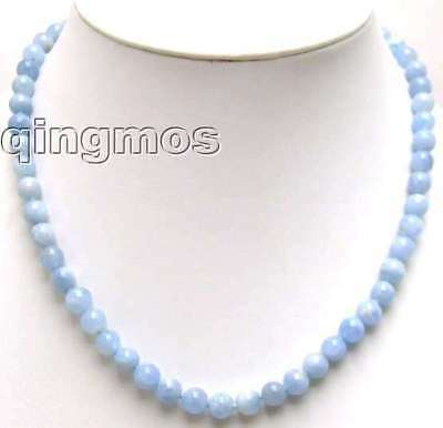 High quality 6-7mm Round High Quality Actual  Natural Aquamarine necklace-5543