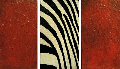 ORIGINAL PAINTING ACRYLIC ON STRETCHED CANVAS - Zebra 3 Panels