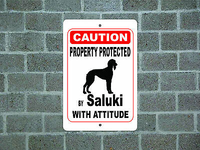 Property protected by Saluki dog with attitude metal aluminum sign