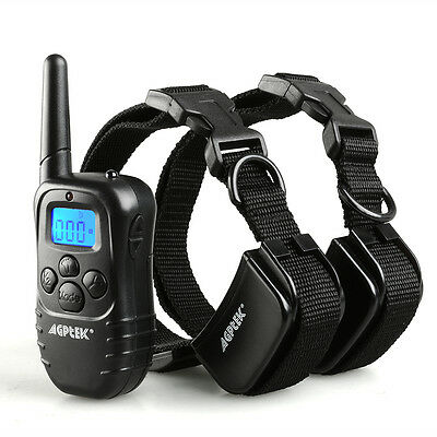 New Rechargeable 100LV Shock Vibra Remote Dog Training Collar LCD for 2 dogs