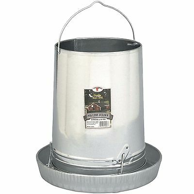 30lb CAPACITY GRAVITY FED GALVANIZED METAL FEEDER FOR CHICKEN COOP POULTRY CHOOK