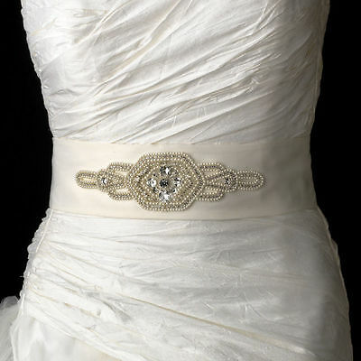 Sparkling White or Ivory Pearl Rhinestone Beaded Wedding Sash Bridal Belt 10