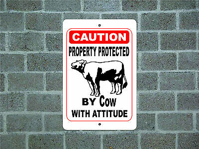 Property protected by Cow with attitude metal aluminum tin sign #A