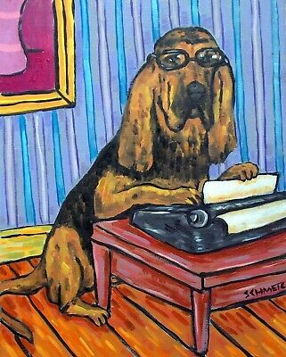 bloodhound typing dog art set of notecards envelopes