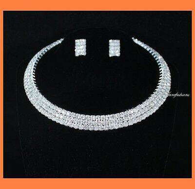 3-Row Clear Austrian Rhinestone Choker Necklace Earrings Set Party Wedding N0561
