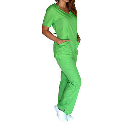 Medical Women Scrub set NATURAL UNIFORMS XS S M L XL 2XL 3XL Mock Wrap top+pants