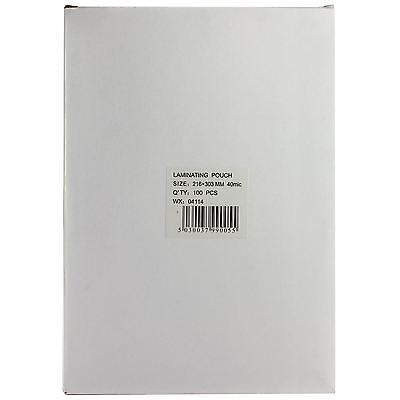 A3 & A4 Laminating Pouches Home Office Gloss Sheets 40 Micron Per Sheet 80 Total
