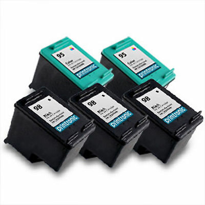 5pk Printronic For Hp 95 98 C8766WN C9364WN Black Color Ink Cartridge