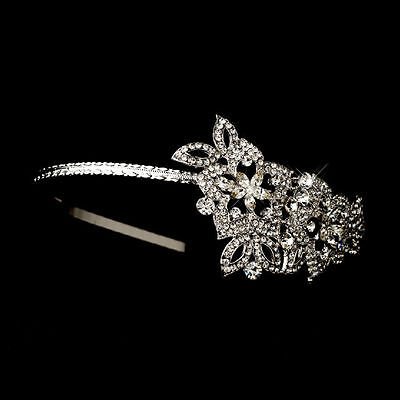 Antique Silver Plated Floral Sice Accented Crystal Bridal Headband