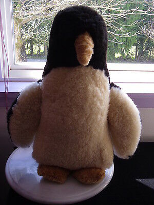 "Vintage Collectible Hand Sewn 16"" Tall Sheepskin Penguin Plush Toy"