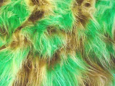 LONG Pile Fun Faux Fur Fabric Material MALT/EMERALD/TOFFEE MIX