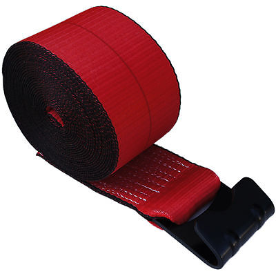"""4 RED 4"""" x 30' Winch Straps Flat Hook Flatbed Truck Trailer Tie Down Strap FH"""