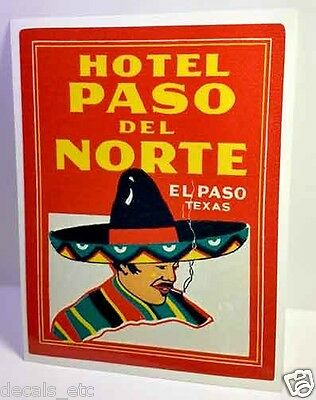 El Paso Texas Hotel Vintage Style Travel Decal / Vinyl Sticker, Luggage Label