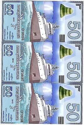 LOT New Jason Islands, 3 x 50 Australes, 2012, POLYMER, UNC > Ship